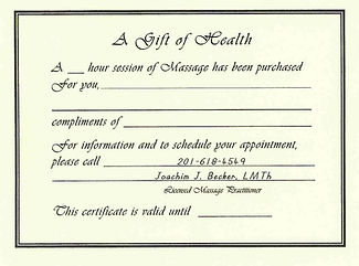 Massage Gift Certificates, New Jersey Holistic Health Services
