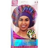 Extra Large Glittering Satin Hair Bonnet Purple