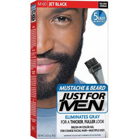 Just For Men Mustache & Beard M-60 Jet Black Brush-In Color Get