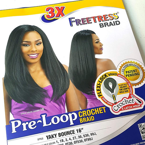 "3X Freetress Braid Yaky Bounce 16"" Color 1B"