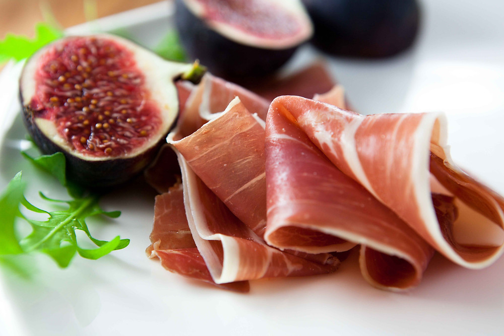 Prosciutto, figs and honey are a must-try in Makarska city in Croatia