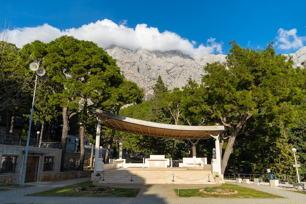 View of Vepric sanctuary with Biokovo mountain above in Makarska