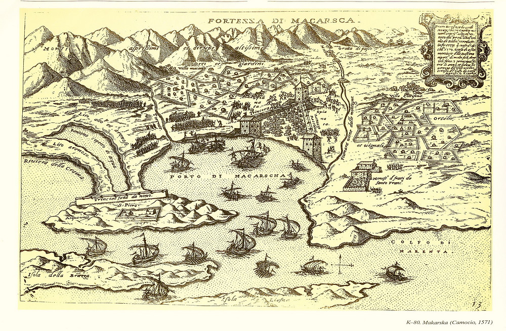 Old map of Makarska from 1571 shows the town in Ottoman Empire times