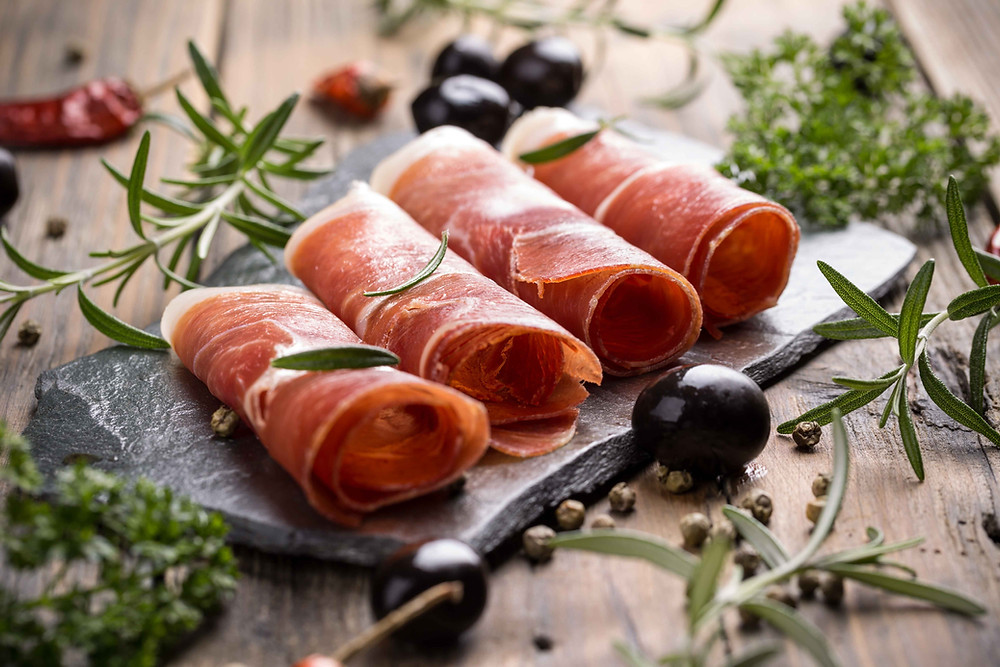 Traditional dalmatian prosciutto is a local specialty in Croatian cuisine