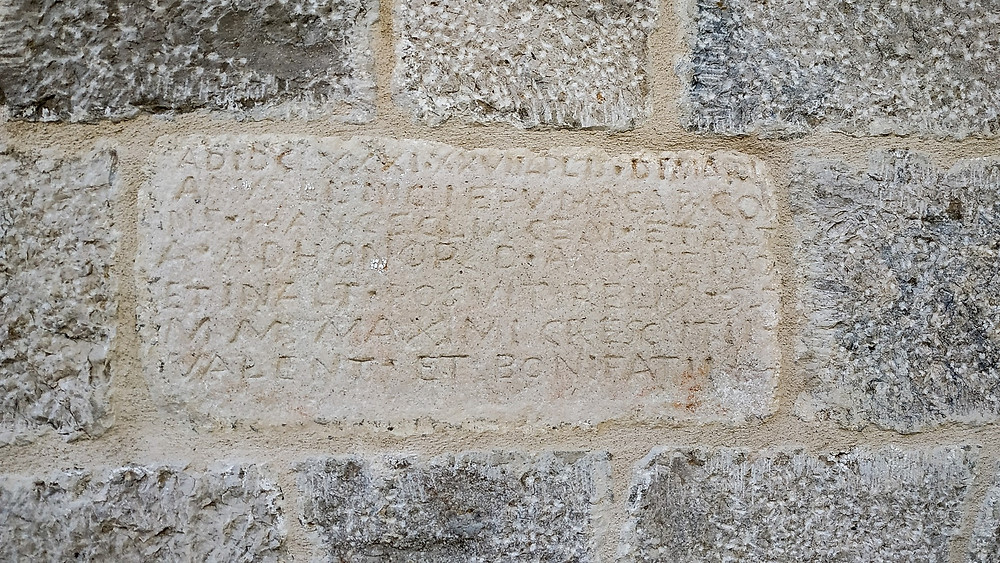 The apse inscription on the church of St Anthony in Kotisina near Makarska, Croatia