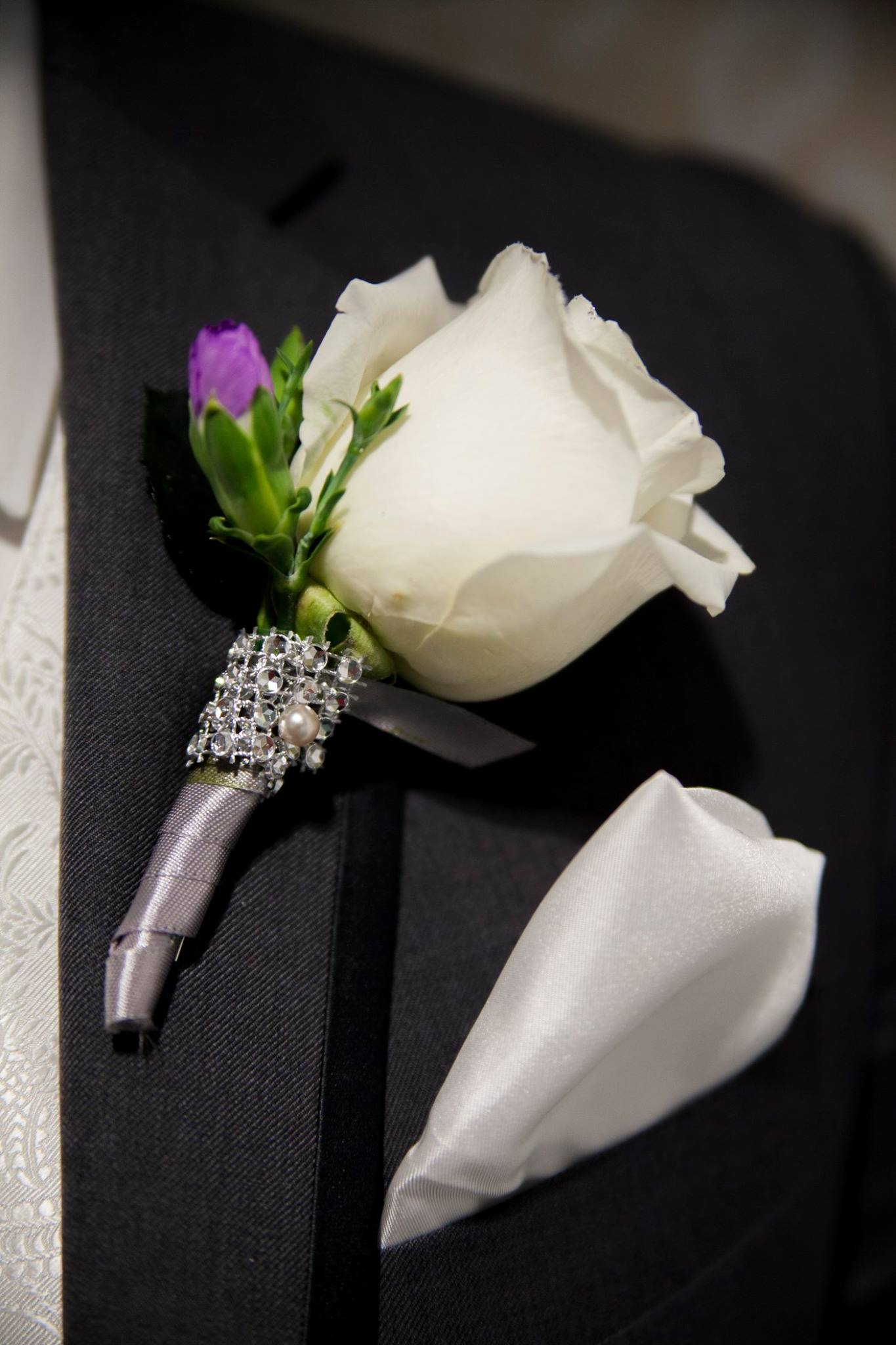 Rose and rhinestone boutonniere