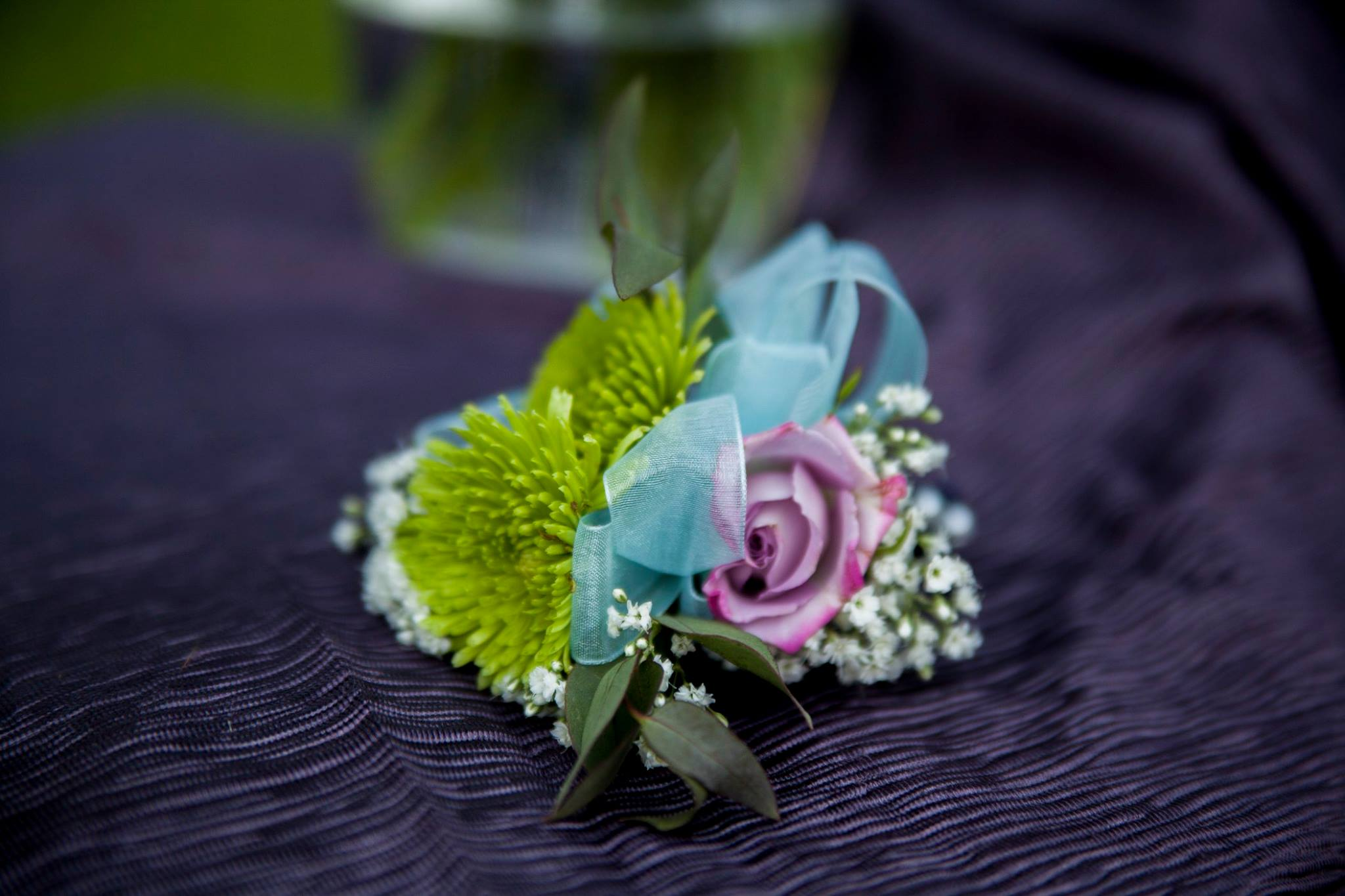 Lime green and lavender corsage
