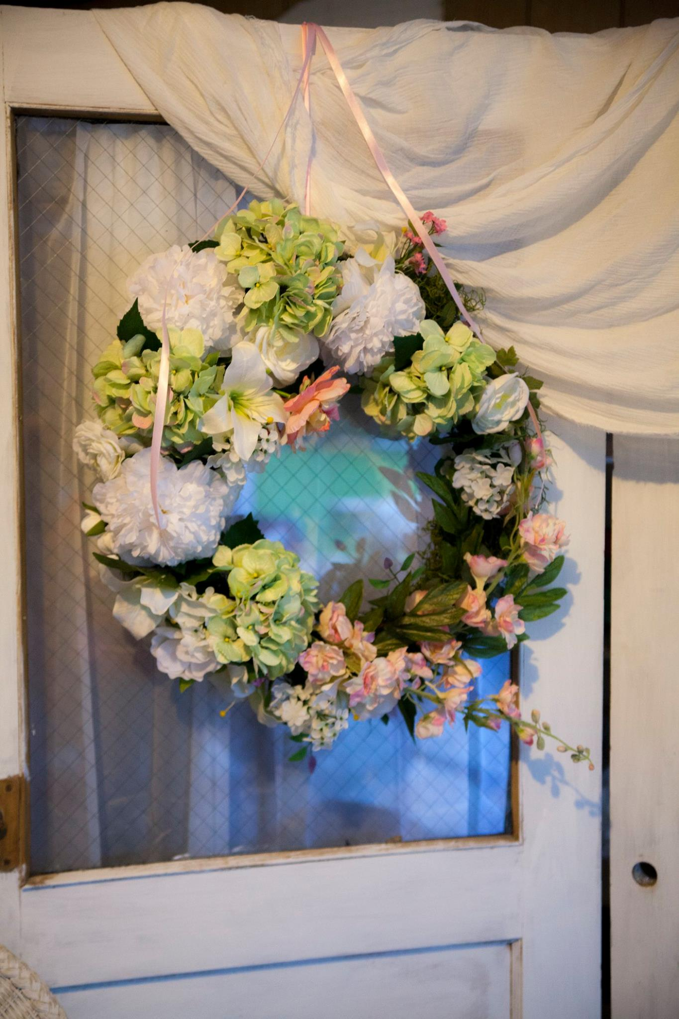 Wreath available for rental.