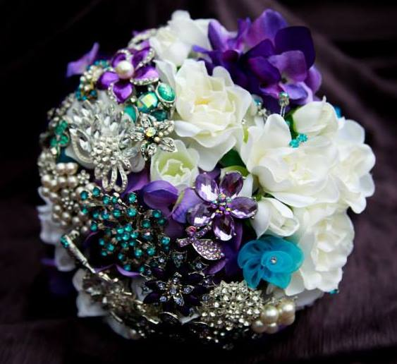 Purple and blue brooch bouquet
