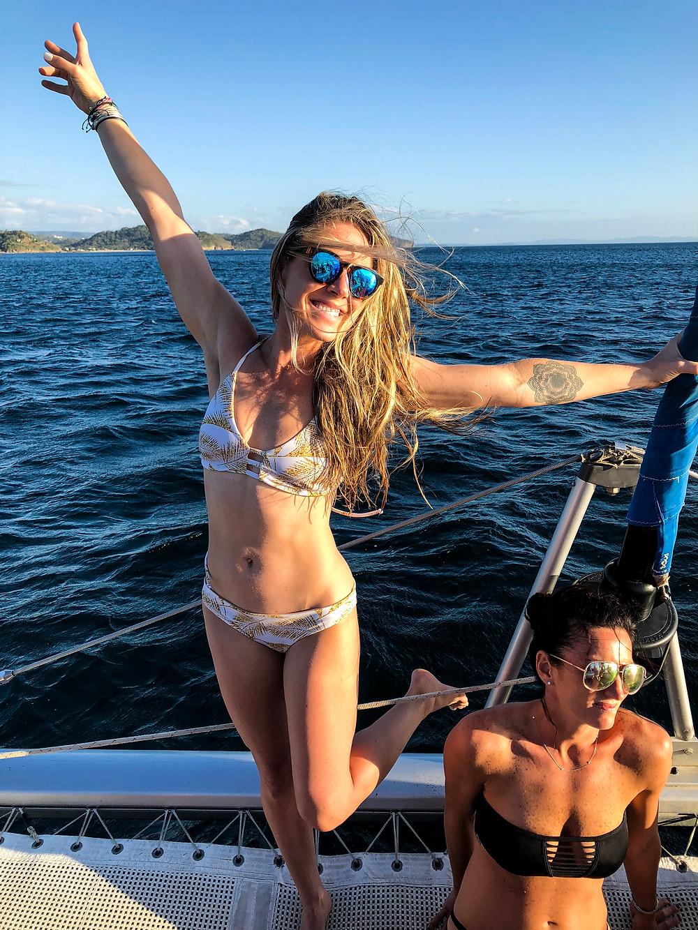 Having a blast on the catamaran trip.