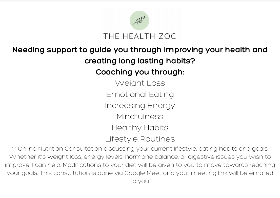 1:1 Nutrition Consultation