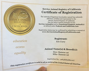 An example of an ESA certficate purhcased via Service Animal Registry of CA.