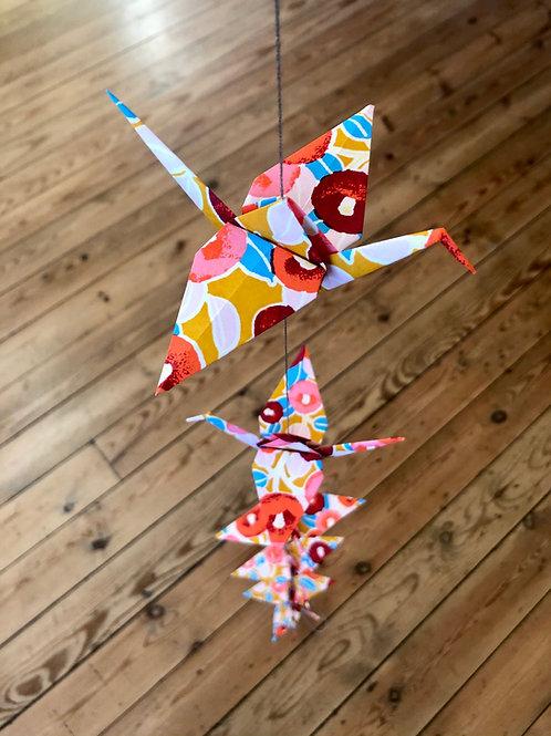 La Guirlande Origami, Moutarde et rouge