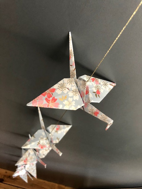 La Guirlande Origami,  Bleu ciel et rose