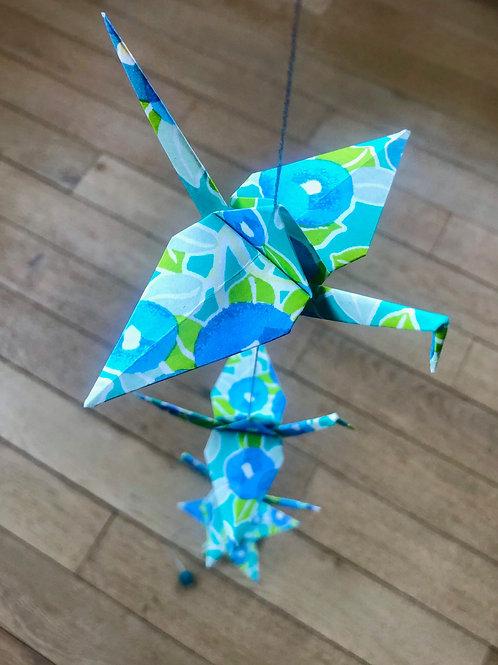 La Guirlande Origami, Turquoise et Bleu