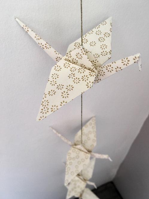 La Guirlande de Grues en Origami, Blanc Or