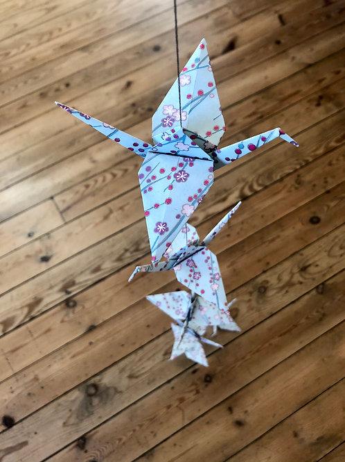 La Guirlande Origami, Bleu ciel et mauve