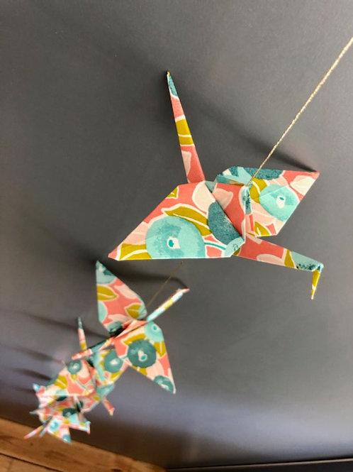 La Guirlande Origami, Corail et Turquoise