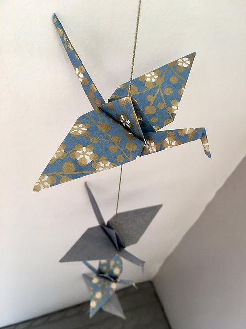 La Guirlande de Grues en Origami, Bleu Or