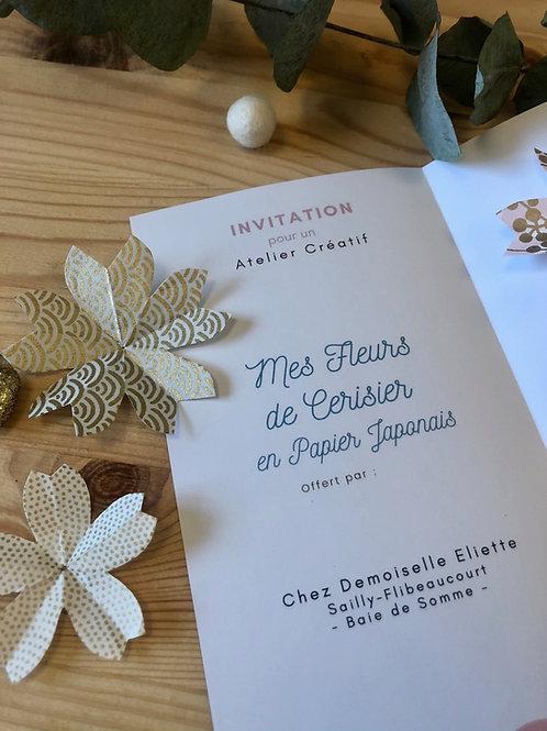 """La Carte Cadeau - Atelier Créatif """"Mes Fleurs de Cerisier en Papier Japonais"""""""