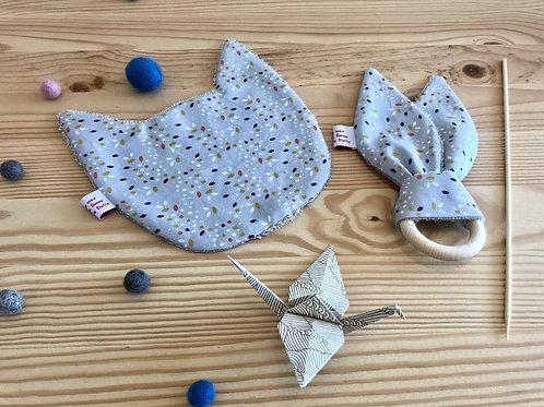 1 Hochet, 1 Doudou et 1 oiseau en origami