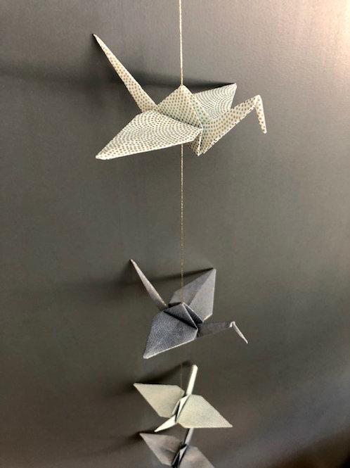 La Guirlande Origami,  Bleu foncé et Bleu clair