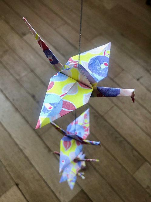 La Guirlande Origami, Mauve et Jaune