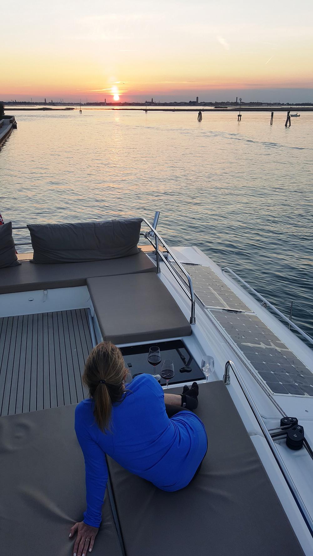 "Saba 50 Catamaran ""Lady Roslyn"". Sunset on Saint Erasmus Island, Venice, Italy"