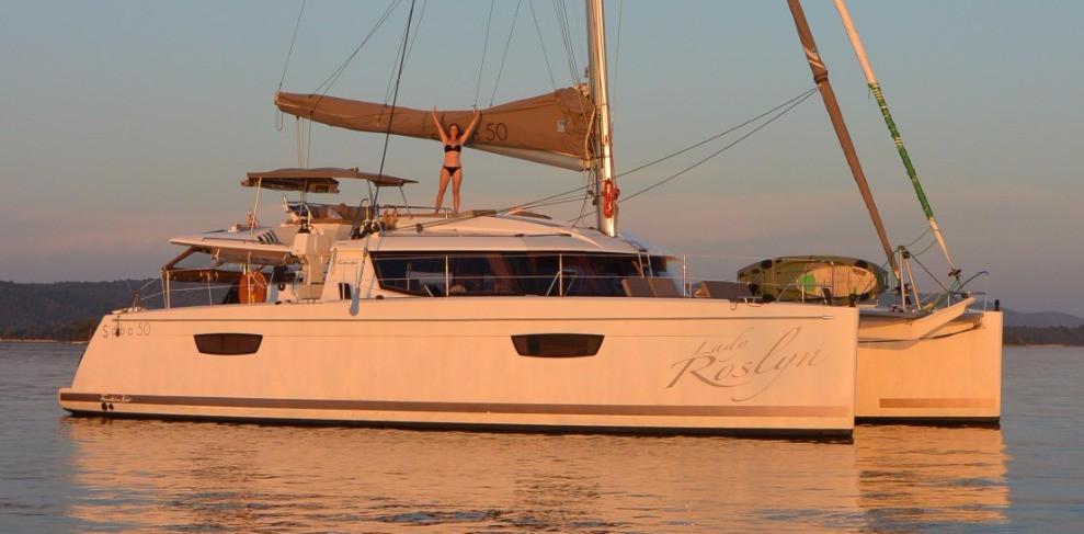 """Saba 50 Catamaran """"Lady Roslyn"""". Happy owner"""