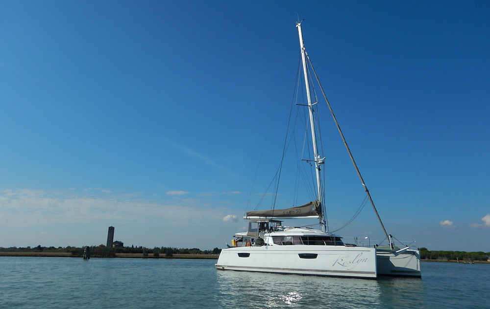 "Saba 50 Catamaran ""Lady Roslyn"". Torcello, Venice lagoon, Italy"