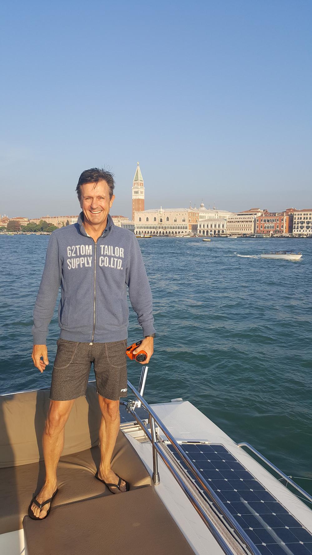 "Saba 50 Catamaran ""Lady Roslyn"". Exploring the main canal Venice, Italy"