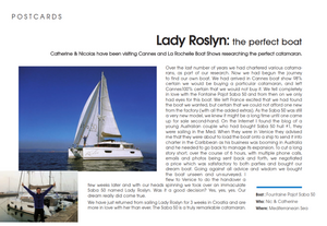 "Saba 50 Catamaran ""Lady Roslyn"". Multihulls World article"