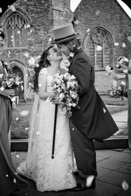 a wedding picture of top hats