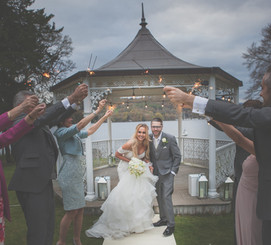 Sunset wedding photography Storrs Hall Bowness