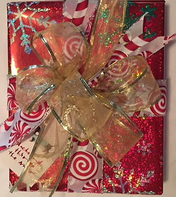 Christmas candy ribbon, gold christmas bow, hand wrapped christmas gift