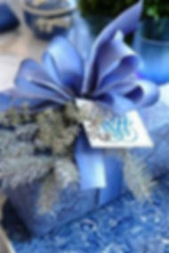 blue christmas, blue christmas gift, silver trimming