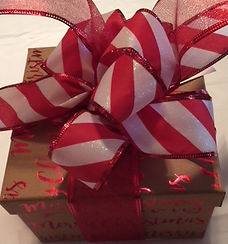 christmas gift box, candy cane ribbon