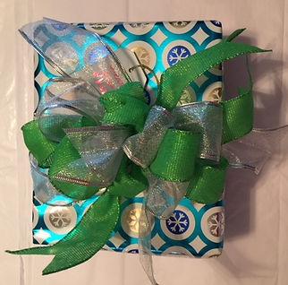 turqoise silver and green christmas gift, turqoise and gold christmas wrap
