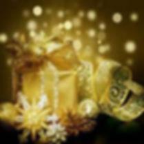 christmas gifts, glitter ribbon, golden snowflake, christmas pinecones