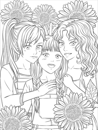3 character lineart