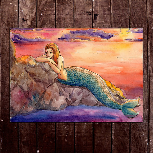 Lounging Mermaid in the Sunset - Small Watercolor Painting - A5 original