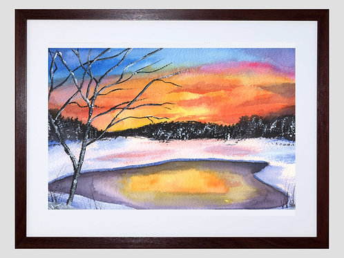 Wintery Original Watercolor Painting - vivid colors