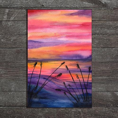 Vivid Sunset Watercolor - landscape Painting - A4