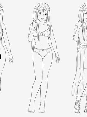 Character concept art lineart