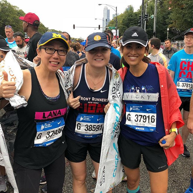 Pre-race catch up with Lana and Fiona at the Chicago Marathon