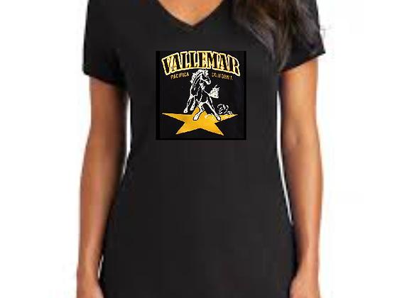 Ladies V-Neck TShirt - Traditional Star Stallion Logo