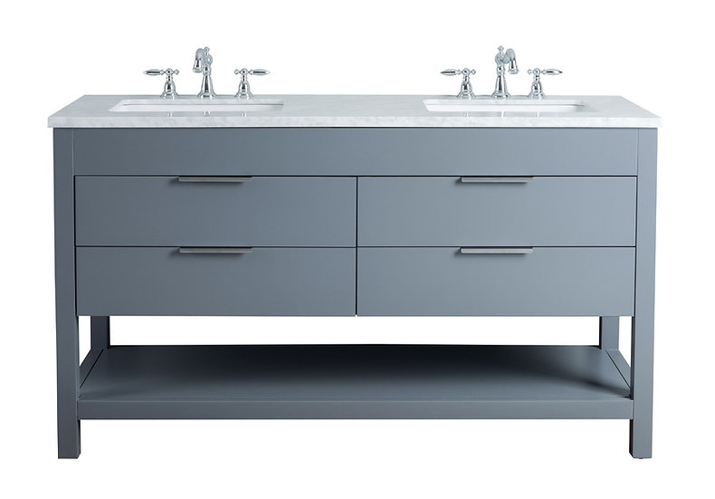 """Rochester 60"""" Grey Double Sink Vanity"""