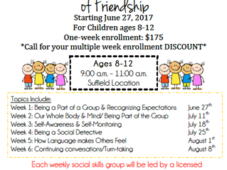 Coming in June to Burke Therapy of Suffield, Social Skills Groups!