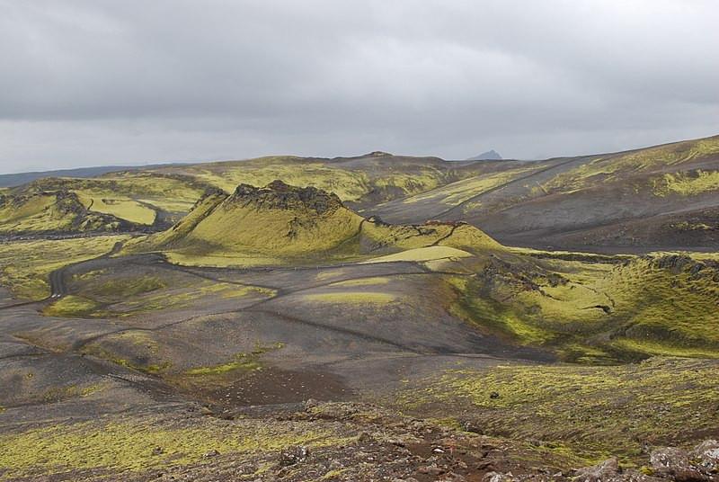 Vista da fissura central do Vulcão Laki, na Islândia