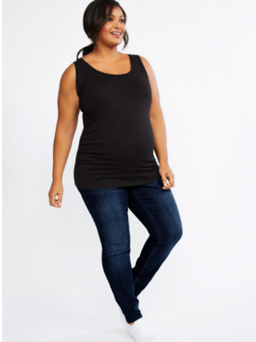 Indigo Blue Plus Sized Secret Fit Belly Super Stretch Skinny Maternity Jeans